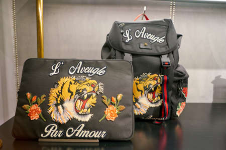 ROME, ITALY - CIRCA NOVEMBER, 2017: Gucci products on display at a second flagship store of Rinascente in Rome.