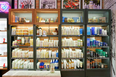 ROME, ITALY - CIRCA NOVEMBER, 2017: Kiehls cosmetics sit on display. Kiehls is an American cosmetics brand retailer that specializes in premium skin, hair, and body care products.