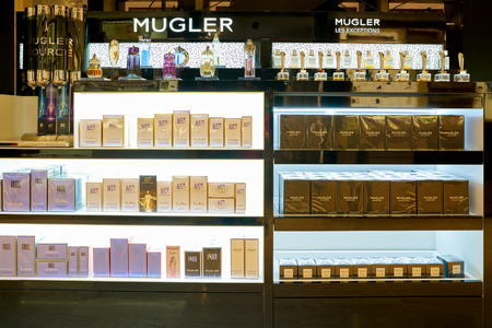 ROME, ITALY - CIRCA NOVEMBER, 2017: bottles of Mugler fragrance sit on display at a second flagship store of Rinascente in Rome. 報道画像