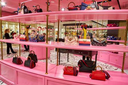ROME, ITALY - CIRCA NOVEMBER, 2017: Gucci bags sit on display at a second flagship store of Rinascente in Rome.