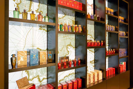 ROME, ITALY - CIRCA NOVEMBER, 2017: bottles of The Merchant of Venice fragrance sit on display at a second flagship store of Rinascente in Rome.