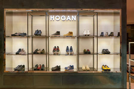 ROME, ITALY - CIRCA NOVEMBER, 2017: mens shoes on display at a second flagship store of Rinascente in Rome.