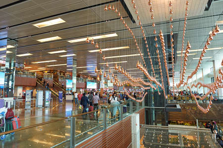 SINGAPORE - NOVEMBER 07, 2015: Kinetic Rain at Singapore Changi Airport.
