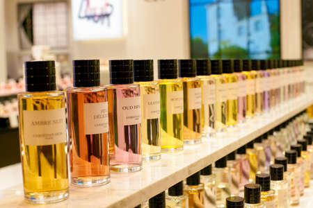 ROME, ITALY - CIRCA NOVEMBER, 2017: close up shot of bottles of Dior fragrance sit on display at a second flagship store of Rinascente in Rome.