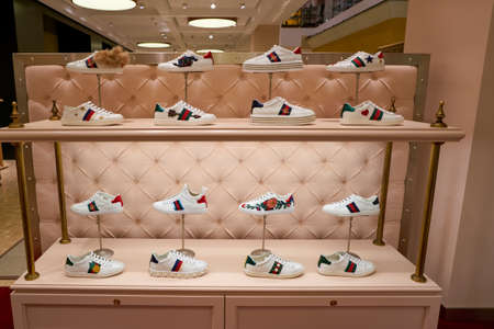ROME, ITALY - CIRCA NOVEMBER, 2017: Gucci shoes on display at a second flagship store of Rinascente in Rome. 報道画像
