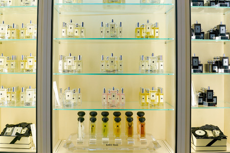ROME, ITALY - CIRCA NOVEMBER, 2017: bottles of Jo Malone fragrance sit on display at a second flagship store of Rinascente in Rome. 報道画像