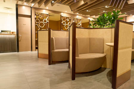 SINGAPORE - NOVEMBER 10, 2015: inside Plaza Premium Lounge. Plaza Premium Lounge is a global service brand headquartered in Hong Kong
