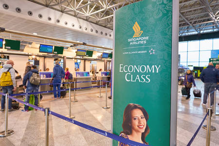 MILAN MALPENSA, ITALY - CIRCA NOVEMBER, 2017: Singapore Airlines check-in area at Milan-Malpensa airport, Terminal 1. Editöryel