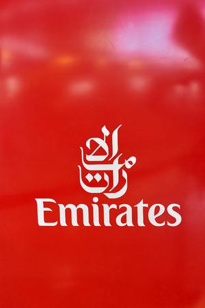 MILAN MALPENSA, ITALY - CIRCA NOVEMBER, 2017: close up shot of Emirates Airlines sign at Milan-Malpensa airport.