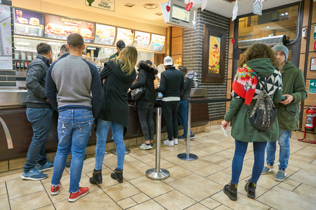 ROME, ITALY - CIRCA NOVEMBER, 2017: people at McDonalds restaurant in Rome. Editorial