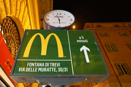 ROME, ITALY - CIRCA NOVEMBER, 2017: a sign showing the direction of the fast-food McDonald's restaurant in Rome