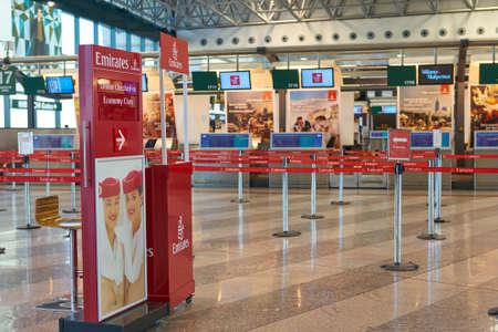MILAN MALPENSA, ITALY - CIRCA NOVEMBER, 2017: Emirates Airlines check-in area at Milan-Malpensa airport, Terminal 1.
