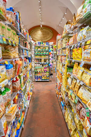 ROME, ITALY - CIRCA NOVEMBER 2017: inside Carrefour Express store in Rome. Carrefour Express is a convenience store chain owned and operated by French retailer Carrefour. Editorial