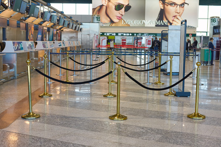 MILAN MALPENSA, ITALY - CIRCA NOVEMBER, 2017: check-in area at Milan-Malpensa airport, Terminal 1.