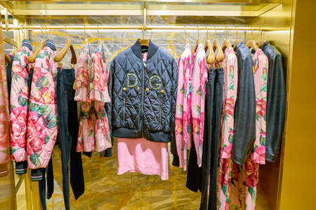 MILAN, ITALY - CIRCA NOVEMBER, 2017: various of Dolce & Gabbana clothes on display at Rinascente. Rinascente is a collection of high-end stores.