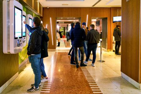 MILAN, ITALY - CIRCA NOVEMBER, 2017: inside McDonald's restaurant. McDonald's is an American hamburger and fast food restaurant chain.