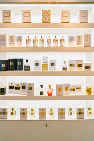 MILAN, ITALY - CIRCA NOVEMBER, 2017: perfumes on display at Rinascente. Rinascente is a collection of high-end stores. Editorial