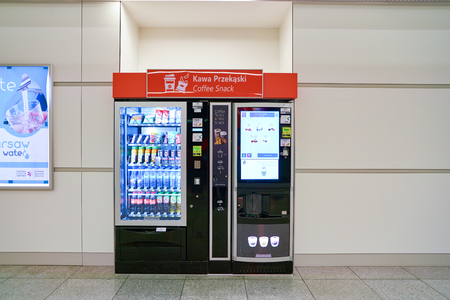 WARSAW, POLAND - CIRCA NOVEMBER, 2017: vending machine in Warsaw Chopin Airport. Redactioneel