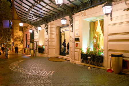 ROME, ITALY - CIRCA NOVEMBER, 2017: entrance to a hotel in Rome. Rome is the capital city of Italy. Editorial