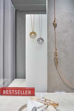 MILAN, ITALY - CIRCA NOVEMBER, 2017: jewellery on display at Swarovski store in Milan. Swarovski is an Austrian producer of lead glass. 写真素材 - 119933031