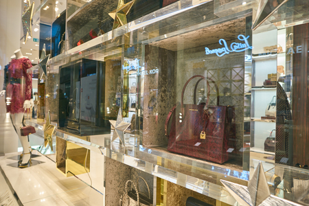 MILAN, ITALY - CIRCA NOVEMBER, 2017: display window at Michael Kors store in Milan. Michael Kors Holdings Limited is an American fashion company.