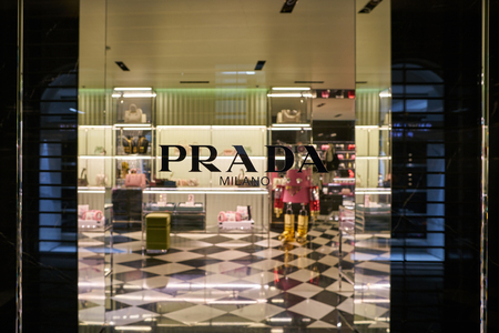 MILAN, ITALY - CIRCA NOVEMBER, 2017: display window at Prada store in Milan. Prada S.p.A. is an Italian luxury fashion house.