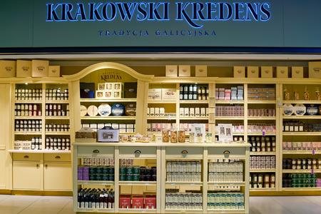WARSAW, POLAND - CIRCA NOVEMBER, 2017: Krakowski Kredens shop in Warsaw Chopin Airport.