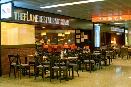 WARSAW, POLAND - CIRCA NOVEMBER, 2017: The Flame Restaurant & Bar in Warsaw Chopin Airport.