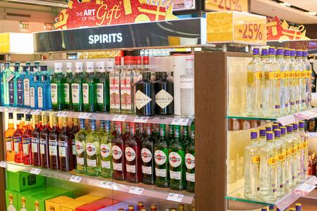 WARSAW, POLAND - CIRCA NOVEMBER, 2017: alcohol on display inside Aelia Duty Free store at Warsaw Chopin Airport.