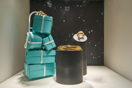 MILAN, ITALY - CIRCA NOVEMBER, 2017: Tiffany's jewellery and iconic blue gift boxes on display at a store in Milan. Tiffany & Company is an American luxury jewelry and specialty retailer
