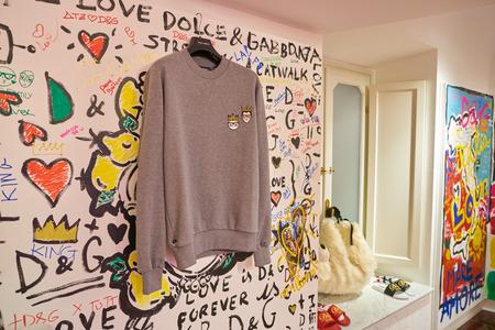 MILAN, ITALY - CIRCA NOVEMBER, 2017: clothing on display at Dolce & Gabbana store in Milan. Dolce & Gabbana is an Italian luxury fashion house.