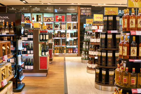 WARSAW, POLAND - CIRCA NOVEMBER, 2017: alcohol on display inside Aelia Duty Free store at Warsaw Chopin Airport.