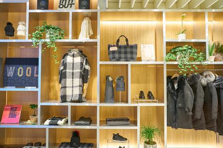 MILAN, ITALY - CIRCA NOVEMBER, 2017: interior shot of Woolrich shop in Milan