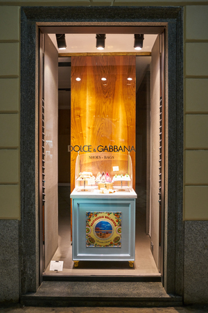 MILAN, ITALY - CIRCA NOVEMBER, 2017: a window display at Dolce & Gabbana store in Milan. Dolce & Gabbana is an Italian luxury fashion house. Editorial
