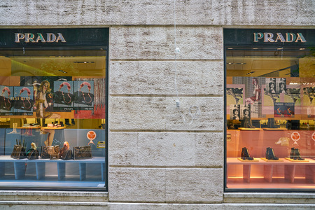 MILAN, ITALY - CIRCA NOVEMBER, 2017: display windows at Prada store in Milan. Prada S.p.A. is an Italian luxury fashion house. Editorial