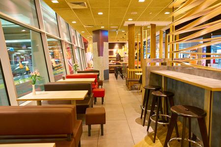 WARSAW, POLAND - CIRCA NOVEMBER, 2017: inside McDonald's Restaurant at Warsaw Frederic Chopin Airport.