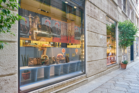 MILAN, ITALY - CIRCA NOVEMBER, 2017: display window at Prada store in Milan. Prada S.p.A. is an Italian luxury fashion house.