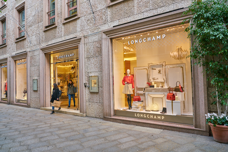 MILAN, ITALY - CIRCA NOVEMBER, 2017: Longchamp store in Milan. Longchamp is a French luxury leather goods company.