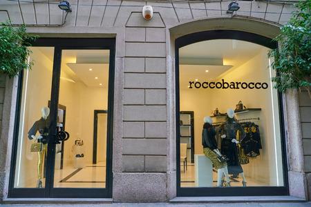MILAN, ITALY - CIRCA NOVEMBER, 2017: display window and entrance at roccobarocco shop in Milan.