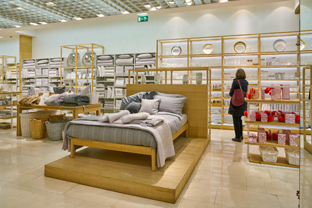 MILAN, ITALY - CIRCA NOVEMBER, 2017: interior shot of Zara Home store in Milan.