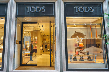 MILAN, ITALY - CIRCA NOVEMBER, 2017: shopfront of a Tods shop in Milan. Editorial