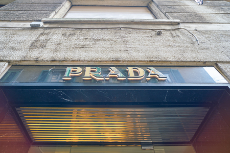 MILAN, ITALY - CIRCA NOVEMBER, 2017: Prada sign at a store in Milan. Prada S.p.A. is an Italian luxury fashion house.