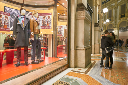 MILAN, ITALY - CIRCA NOVEMBER, 2017: a window display at Prada store in Galleria Vittorio Emanuele II.