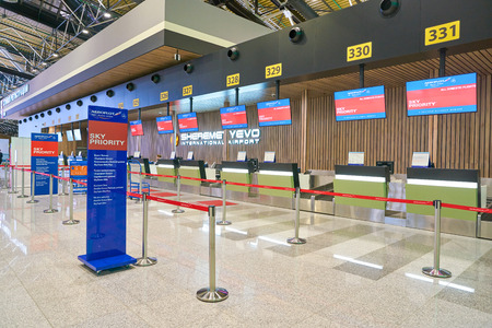 MOSCOW, RUSSIA - CIRCA JULY, 2018: business class check-in area in Sheremetyevo International Airport.