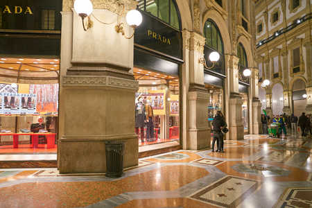 MILAN, ITALY - CIRCA NOVEMBER, 2017: Prada store at Galleria Vittorio Emanuele II in the night Editorial