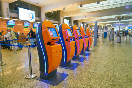 MOSCOW, RUSSIA - CIRCA JULY, 2018: Aeroflot self check-in kiosks in Sheremetyevo International Airport.