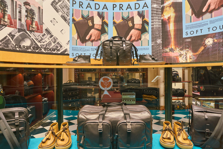 MILAN, ITALY - CIRCA NOVEMBER, 2017: a window display at Prada store in Galleria Vittorio Emanuele II.