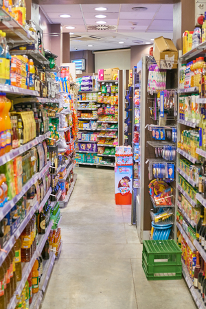 MILAN, ITALY - CIRCA NOVEMBER, 2017: food products for sale in Carrefour Express store in Milan. Editorial