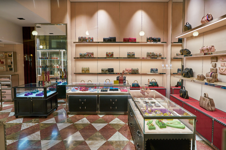 MILAN, ITALY - CIRCA NOVEMBER, 2017: bags on display at Gucci store in Galleria Vittorio Emanuele II.