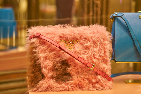 MILAN, ITALY - CIRCA NOVEMBER, 2017: a bag on display at Prada store in Galleria Vittorio Emanuele II.